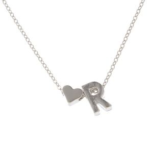 Jewelry - Dainty Heart & R Initial Silver Necklace